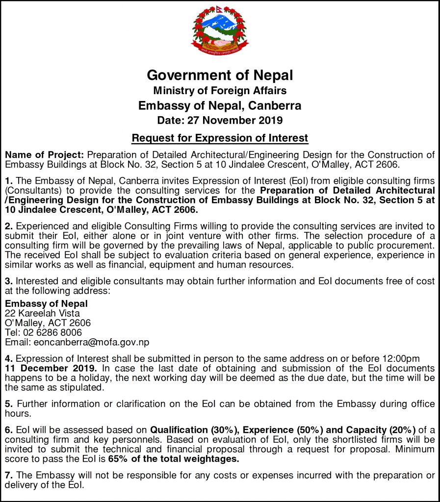 """Request for Expression of Interest (EoI) for  Preparation of Detailed Architectural/Engineering Design for the  Construction of Embassy Buildings in O'Malley, ACT, Canberra"""